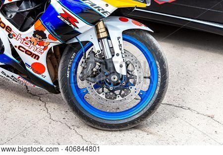 Samara, Russia - May 18, 2019: Front Wheel Of Sports Motorcycle. Brake System Of A Motorbike