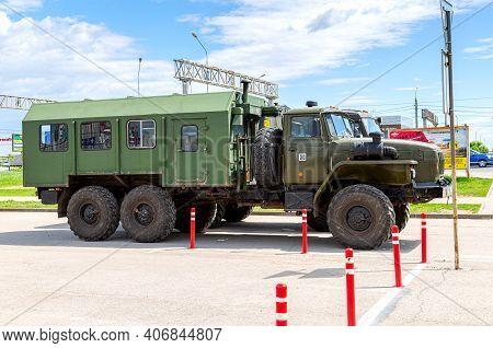 Samara, Russia - May 18, 2019: Green Russian Military Truck Ural 4320 At The City Street In Summer