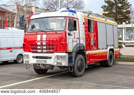 Samara, Russia - May 1, 2018: Red Fire Truck, Rescue Vehicle Parked Up At The Street In Summer Day