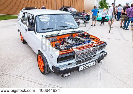 Samara, Russia - May 19, 2018: Russian Automobile Lada-2107 With Tuned Turbo Car Engine, Under The H