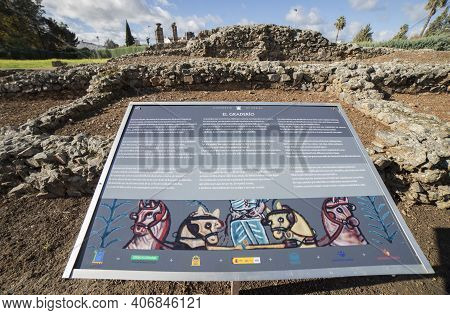 Merida, Spain - Dec 12th, 2020: Grandstand Panel Of Imperial City Circus Of Emerita Augusta, Merida,