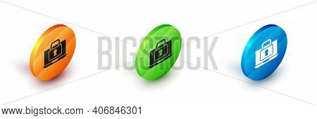 Isometric Laptop And Lock Icon Isolated On White Background. Computer And Padlock. Security, Safety,