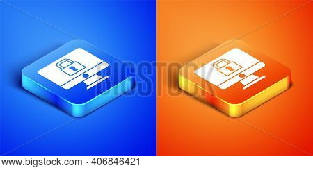 Isometric Lock On Computer Monitor Screen Icon Isolated On Blue And Orange Background. Security, Saf