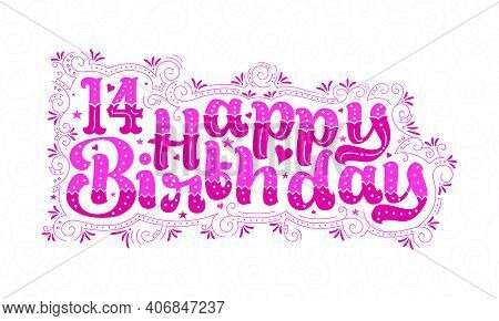 14th Happy Birthday Lettering, 14 Years Birthday Beautiful Typography Design With Pink Dots, Lines,