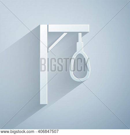 Paper Cut Gallows Rope Loop Hanging Icon Isolated On Grey Background. Rope Tied Into Noose. Suicide,