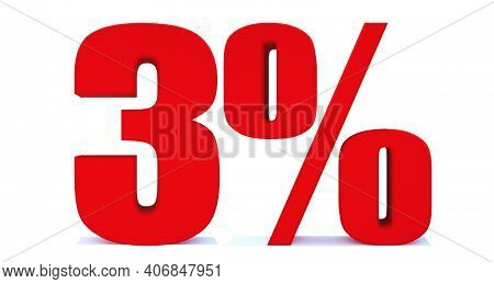 3 Percent Off 3d Sign On White Background, Special Offer 3% Discount Tag, Sale Up To 3 Percent Off,b