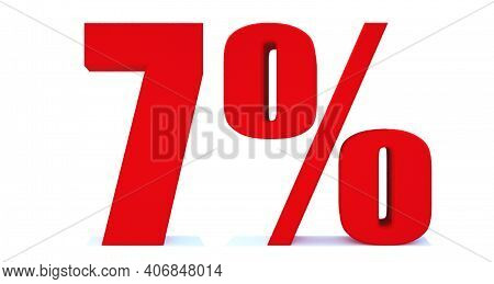 7 Percent Off 3d Sign On White Background, Special Offer 7% Discount Tag, Sale Up To 7 Percent Off,b