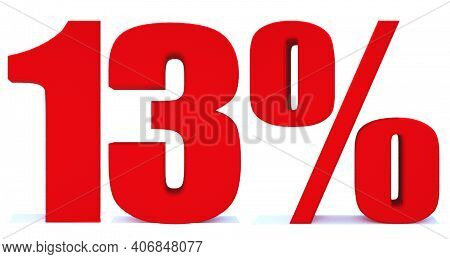 13 Percent Off 3d Sign On White Background, Special Offer 13% Discount Tag, Sale Up To 13 Percent Of