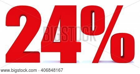 24 Percent Off 3d Sign On White Background, Special Offer 24% Discount Tag, Sale Up To 24 Percent Of