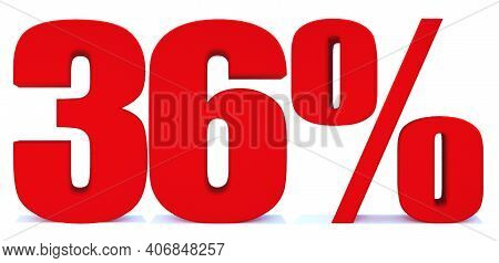 36 Percent Off 3d Sign On White Background, Special Offer 36% Discount Tag, Sale Up To 36 Percent Of