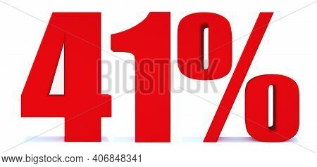 41 Percent Off 3d Sign On White Background, Special Offer 41% Discount Tag, Sale Up To 41 Percent Of