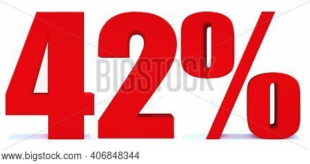 42 Percent Off 3d Sign On White Background, Special Offer 42% Discount Tag, Sale Up To 42 Percent Of
