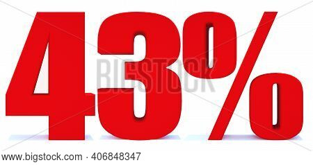 43 Percent Off 3d Sign On White Background, Special Offer 43% Discount Tag, Sale Up To 43 Percent Of
