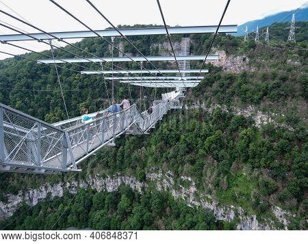 Sochi, Russia - June 20, 2016: Construction Of Sky Bridge And People On This Bridge - Suspension Rop