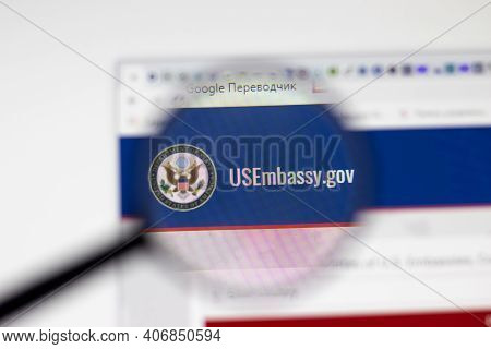 Los Angeles, Usa - 1 February 2021: Us Embassy Website Page. Usembassy.gov Logo On Display Screen, I