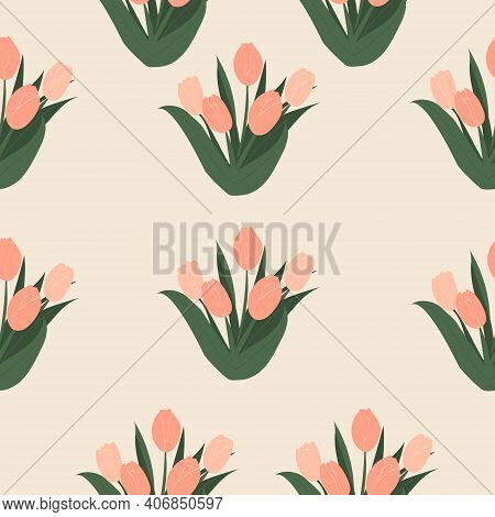 Seamless Pattern With Cute Elegant Pink Tulips. Bouquet Of Tulips. International Women's Day. 8 Marc