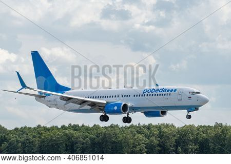 July 2, 2019, Moscow, Russia. Airplane Boeing Boeing 737-800 Pobeda Airline At Vnukovo Airport In Mo