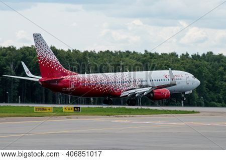 July 2, 2019, Moscow, Russia. Airplane Boeing 737-800 Rossiya - Russian Airlines At Vnukovo Airport
