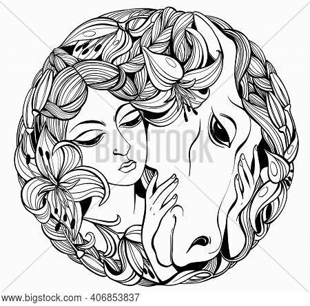Vector Romantic Black And White Illustration In The Shape Of A Circle. A Beautiful Face Of A Girl Wh