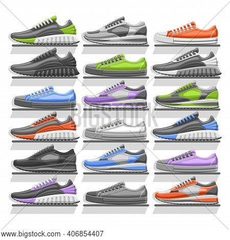 Vector Sneakers Set, 18 Cut Out Illustrations Of Variety Multi Colored, Black And White Sports And U
