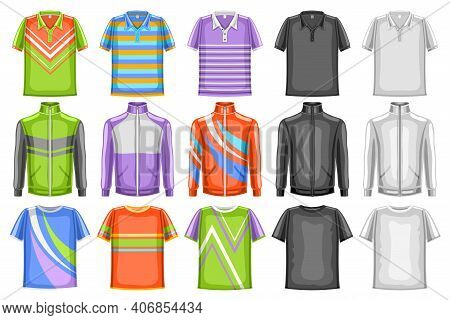 Vector Set Of Sport Clothes, 15 Cut Out Illustrations Of Multi Colored, Black And White Sports Wear