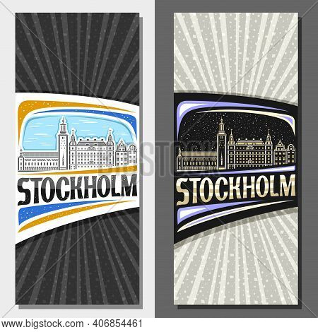 Vector Vertical Layouts For Stockholm, Decorative Leaflet With Line Illustration Of Stockholm City S