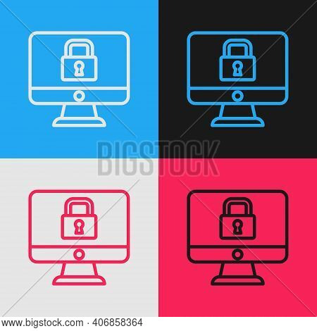 Pop Art Line Lock On Computer Monitor Screen Icon Isolated On Color Background. Security, Safety, Pr