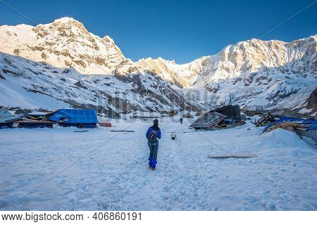 Tourist Visiting To See Annapurna Base Camp (4,130 M) But Totally Damaged And Shutdown Because Heavy
