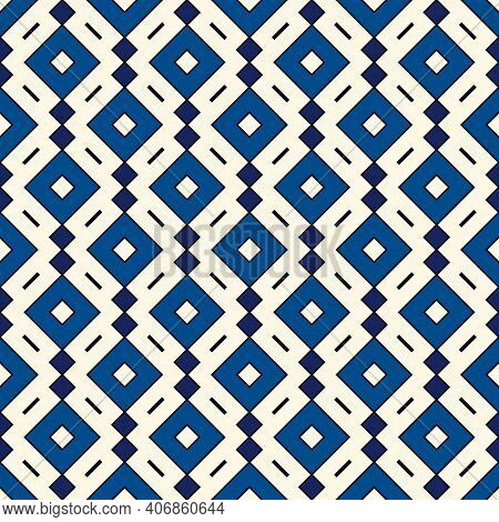 Ethnic, Tribal Seamless Surface Pattern. Repeated Diamonds And Rhombuses Motif. Folk Background. Fol
