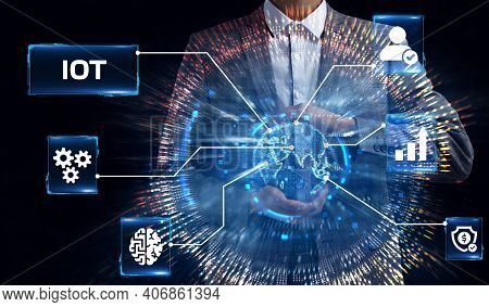 Internet Of Things - Iot Concept. Businessman Offer Iot Products And Solutions. Young Businessman  S