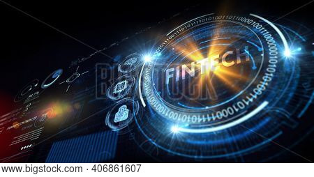 Fintech -financial Technology Concept. Fintech On The Virtual Display. 3d Illustration