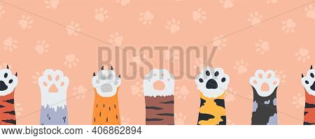 Cat Paws Seamless Wallpaper. Cartoon Funny Kittens Claws And Feet. Cute Limbs Of Wild Or Domestic An