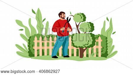 Agricultural Worker Cutting Tree. Cartoon Man Decorative Trimming Branches With Secateurs. Gardening
