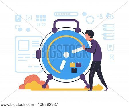 Organizing Task And Schedule Planning. Time Management Concept. Minimal Clock And Man Making Plan Of