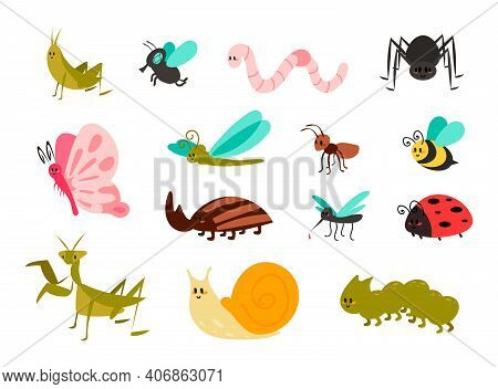 Cute Bugs Set. Cartoon Colorful Garden Animals For Kids Illustration, Funny Children Bug, Worm And L