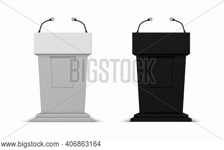 Debate Stage With Microphones. Vector 3d Conference Speech Black And White Tribune Set, Pedestal For