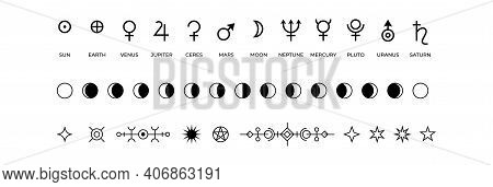 Moon Phases Icons. Black And White Symbols Of Solar System Planets Or Lunar Cycle. Monochrome Mystic