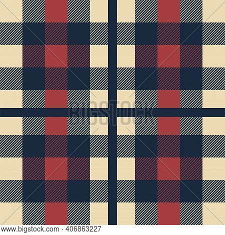 Plaid Pattern. Classic Scottish Cage Seamless Texture. Geometric Checkered Ornament. Repeated Square