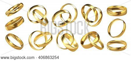 Ring Pairs. 3d Golden Wedding Shiny Accessories. Realistic Marriage Or Engagement Glossy Jewelry. Vi