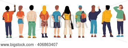 People From Behind. Man And Woman Persons Back, Young Cartoon Characters Standing Together, Crowd Ma