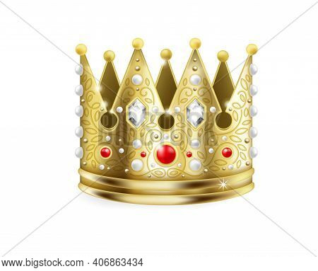 Golden Crown. 3d Royal Corona. Realistic Gold Headdress Decorated With Rubies, Glittering Diamonds A