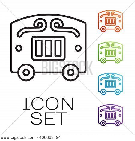 Black Line Circus Wagon Icon Isolated On White Background. Circus Trailer, Wagon Wheel. Set Icons Co