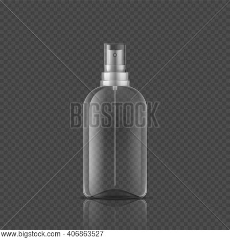 Spray Bottle. Realistic Empty Package, 3d Tube From Glass Or Plastic And Lid With Atomizer. Packagin
