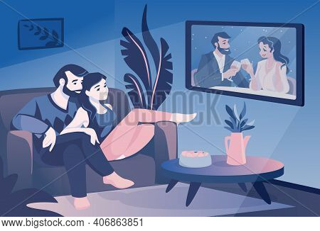 Couple Watch Tv. Cartoon Family Sitting On Couch And Watching Television Show, Smiling Husband And W