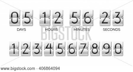 Scoreboard Of Day, Hour, Minutes And Seconds. Flipboard For Time Remaining Countdown. Number Templat