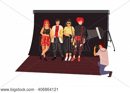 Photographers Shoot Fashion Models. Photography Studio Concept. Trendy Cute Women Posing, Man Taking