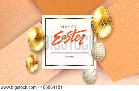 Composition With Easter Eggs In Gold And White Shades With A Pattern, Square White Frame, Slanting C