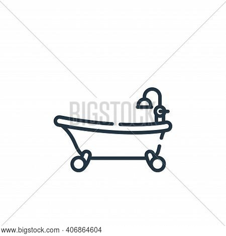 bathtub icon isolated on white background from bathroom collection. bathtub icon thin line outline l