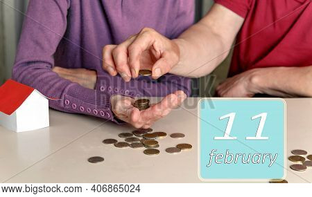 February 11, 11th Day Of Month. Reminder To Plan Family Budget Together For Woman And Man. Winter Mo
