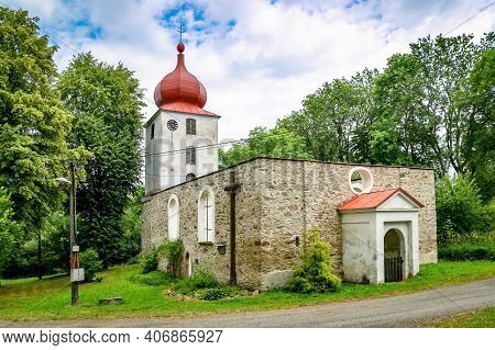 Vysoka, Czech Republic - July 6 2018: View Of The Preserved Ruin Of Church Of John The Baptist Built